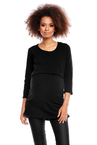 Tehotenská/dojčiaca tunika 3/4 rukáv - čierna, veľ. L/XL