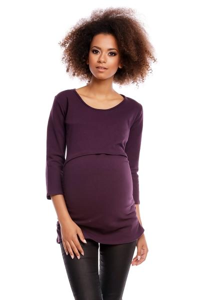 Tehotenská/dojčiaca tunika 3/4 rukáv - slivka, veľ. XXL