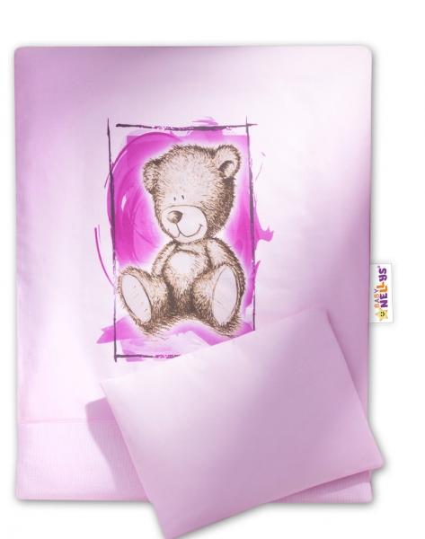 Baby Nellys Sada do kočíka komplet 4 D Sweet Dreams by Teddy - ružový