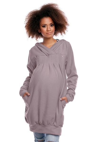 Be MaaMaa Tehotenská/dojčiaca mikina polar - sivá, veľ. XL