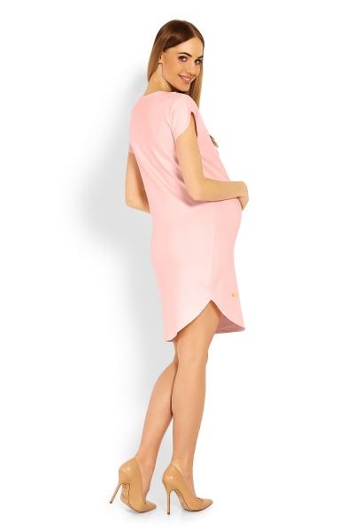 Tehotenské asymetrické šaty kr. rukáv - sv. ružová