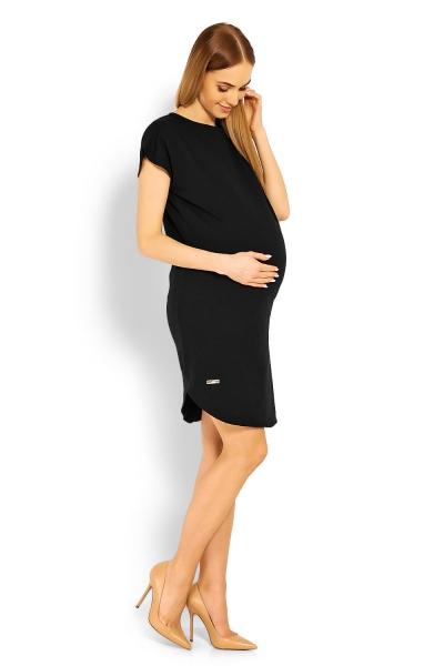 Tehotenské asymetrické šaty kr. rukáv - čierne