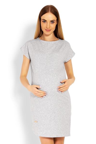 Tehotenské asymetrické šaty kr. rukáv - sivé