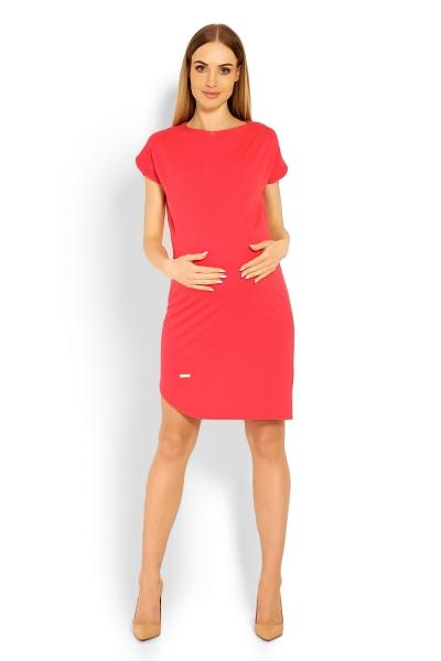 Tehotenské asymetrické šaty kr. rukáv - koral