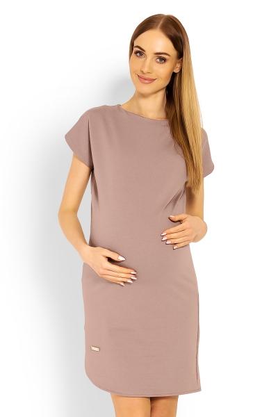 Tehotenské asymetrické šaty, Kr. rukáv - cappuccino
