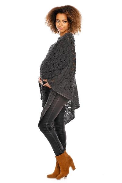 Elegantné tehotenské pončo ažurkové - grafitové