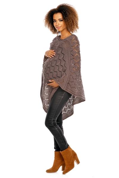 Elegantné tehotenské pončo ažurkové - mocca