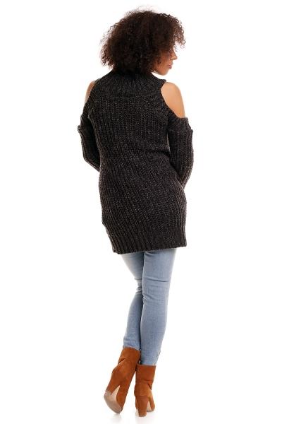 Originálny priadzový pulóver s rolákom, odkryté ramená - čierna