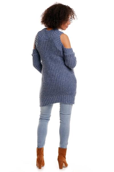 Originálny priadzový pulóver s rolákom, odkryté ramená - jeans