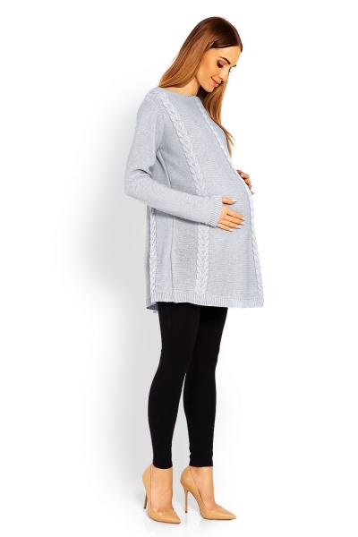 Elegantný tehotenský pulóver / tunika - šedý,
