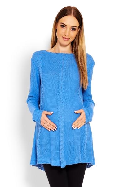 Elegantný tehotenský svetrík / tunika - jeans-UNI