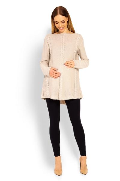 Elegantný tehotenský pulóver / tunika -béžový