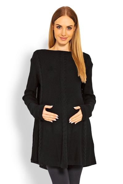 Be MaaMaa Elegantný tehotenský svetrík / tunika - čierny-UNI