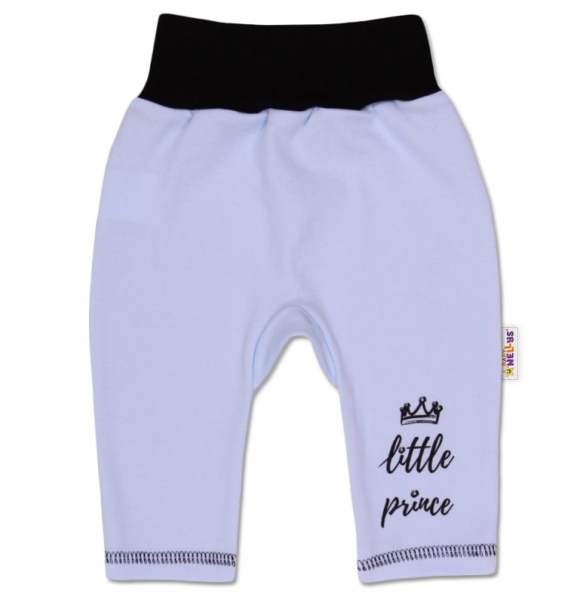 Baby Nellys Bavlnené tepláčky, Little Prince - modré, veľ. 74