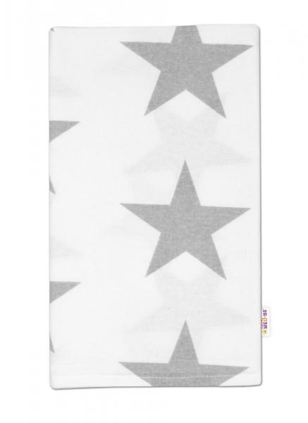 Flanelová plienka - Veľké hviezdy šedé na bielom