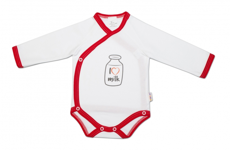 Baby Nellys Body dlhý rukáv zapínanie bokom I love milk