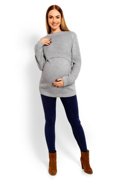 Pletený tehotenský pulóver- šedý, (dojčiaci)