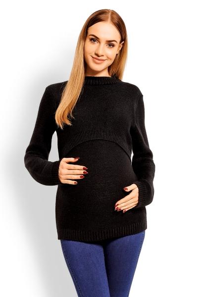 Pletený tehotenský pulóver - čierny, (dojčiaci)