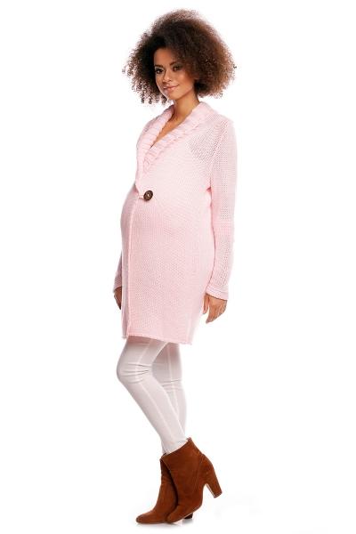 Tehotenský kardigan - sv. ružový, zapínanie na gombík