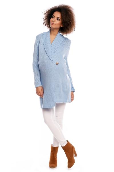 Tehotenský kardigan - sv. modrý, zapínanie na gombík