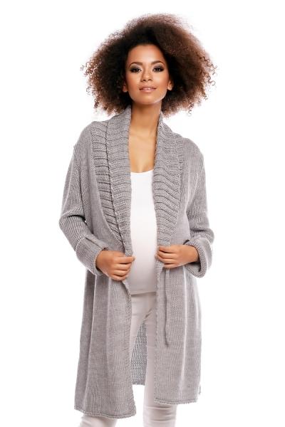 Tehotenský kardigan - šedý, zapínanie na gombík-UNI