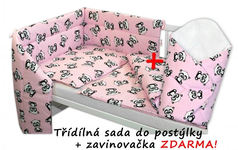 3-dielna sada mantinel s obliečkami + zavinovačka zadarmo - Baby Panda, ružová, 135x100 cm