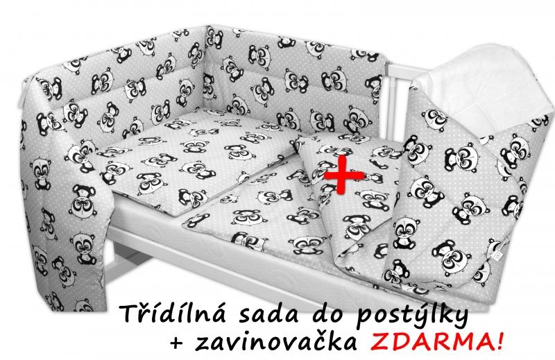 3-dielna sada mantinel s obliečkami + zavinovačka zadarmo - Baby Panda, sivá, 120x90 cm
