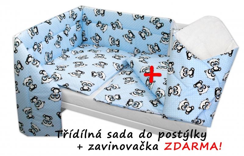 3-dielna sada mantinel s obliečkami + zavinovačka zadarmo - Baby Panda, modrá, 135x100 cm