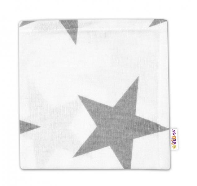 Flanelová plienka Mini - Veľké hviezdy šedé na bielom