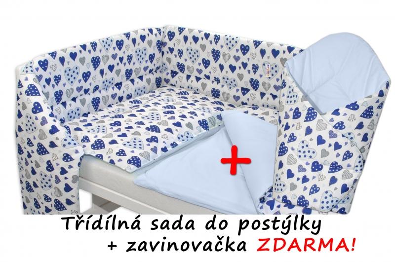 3-dielna sada mantinel s obliečkami + zavinovačka zadarmo - Srdiečka modrá, sv.modrá