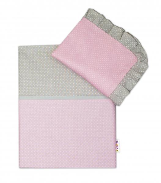 2-dielne bavlnené obliečky s volániky -  ružové/bodky biele, sivý lem, 135x100 cm