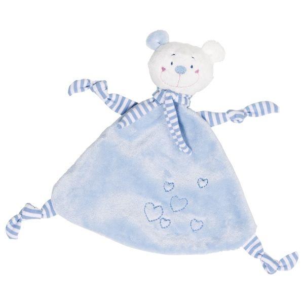 Muchláček Medvedík so srdiečkami - modrý