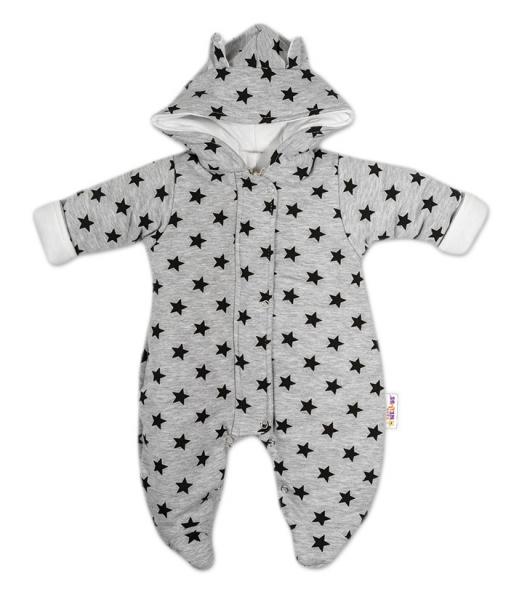 Kombinézka s kapucňu a uškami Hvezdičky Baby Nellys ®- sivá/tm. modrá, veľ. 74-74 (6-9m)