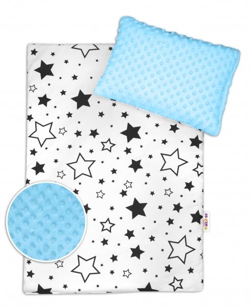 2-dielna sada do kočíka s Minky - Čierne hviezdy a hviezdičky / Minky sv. modrá