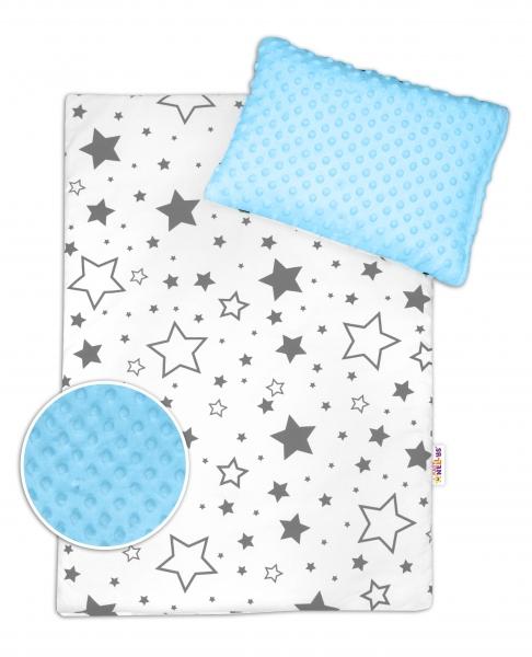 Baby Nellys 2-dielna sada do kočíka s Minky - Sivé hviezdy a hviezdičky / Minky sv. modrá