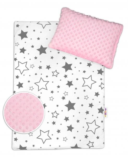 Baby Nellys 2-dielna sada do kočíka s Minky - Sivé hviezdy a hviezdičky / Minky ružová
