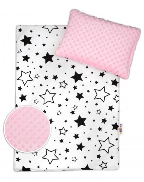 2-dielna sada do kočíka s Minky - Čierne hviezdy a hviezdičky / Minky ružová