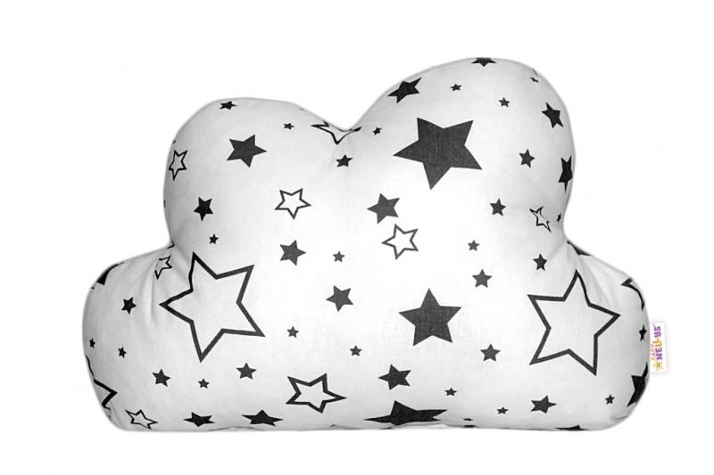 Baby Nellys Dekoračný vankúšik - Čierne hvezdy a hvezdičky