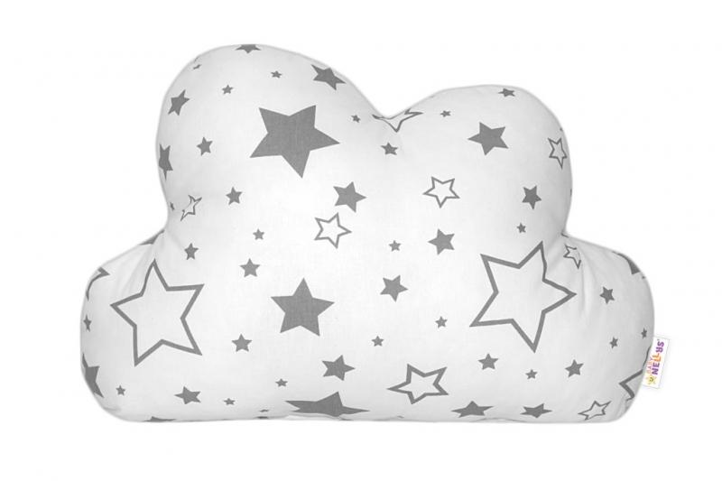 Baby Nellys Dekoračný vankúšik - Sivé hvezdy a hvezdičky