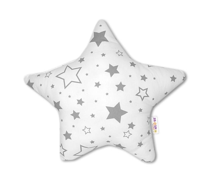 Baby Nellys Dekoračný vankúšik Hvezdička - Sivé hvezdy a hvezdičky
