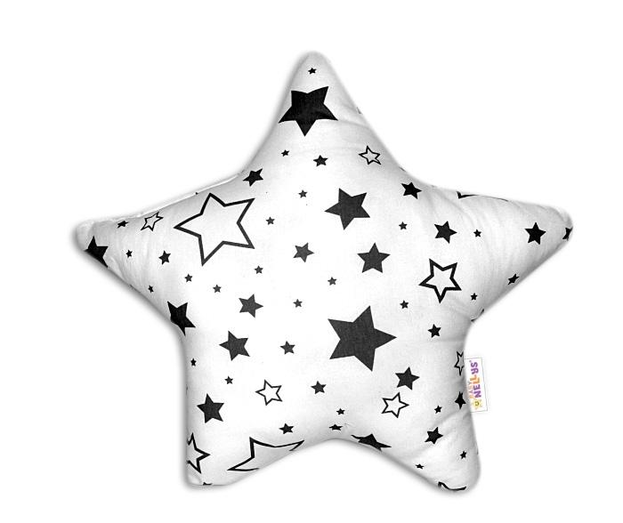 Baby Nellys Dekoračný vankúšik Hvezdička -Čierne hvezdy a hvezdičky