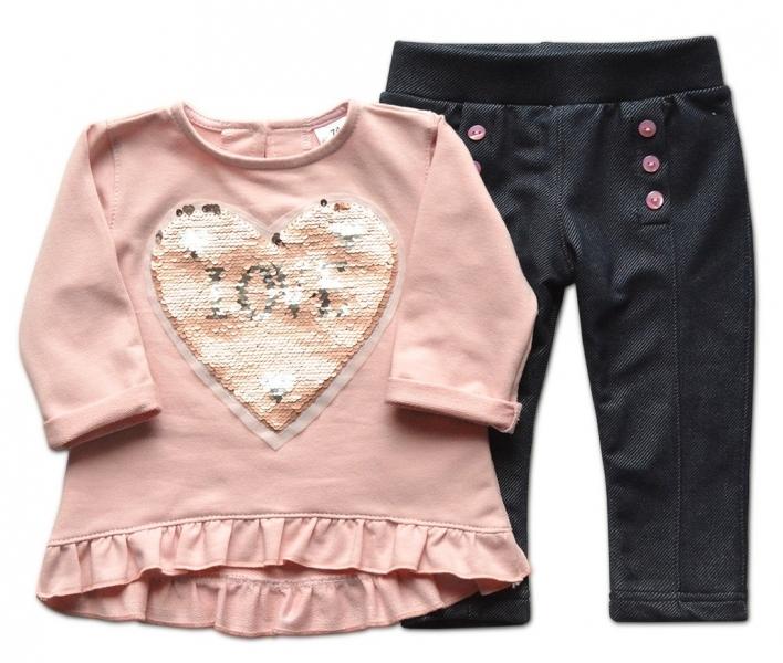 Sada blúzka + legíny/nohavice Srdiečko Love - staroružová/jeans, veľ. 98-98 (24-36m)