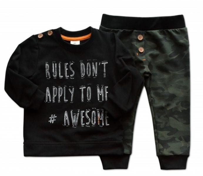 Sada triko/mikinka + tepláčky Army - čierna/khaki, veľ. 86-86 (12-18m)