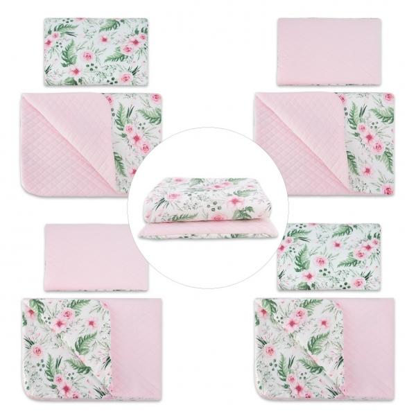 Obojstranná sada vankúšik s obliečkami + dečka Velvet lux mimino, prešívaná - ružová