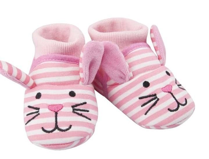 Topánočky / capáčky YO! Myška - ružové prúžky, vel. 6 - 12 m-6/12měsíců