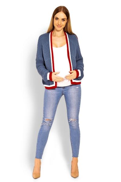 Tehotenský svetrík / kardigan s výrazným lemovaním - jeans