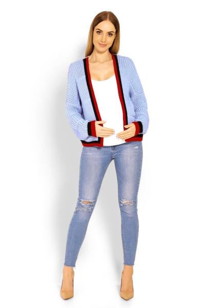 Tehotenský svetrík / kardigan s výrazným lemovaním - sv. modrá