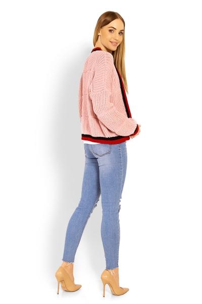 Tehotenský svetrík / kardigan s výrazným lemovaním - ružový