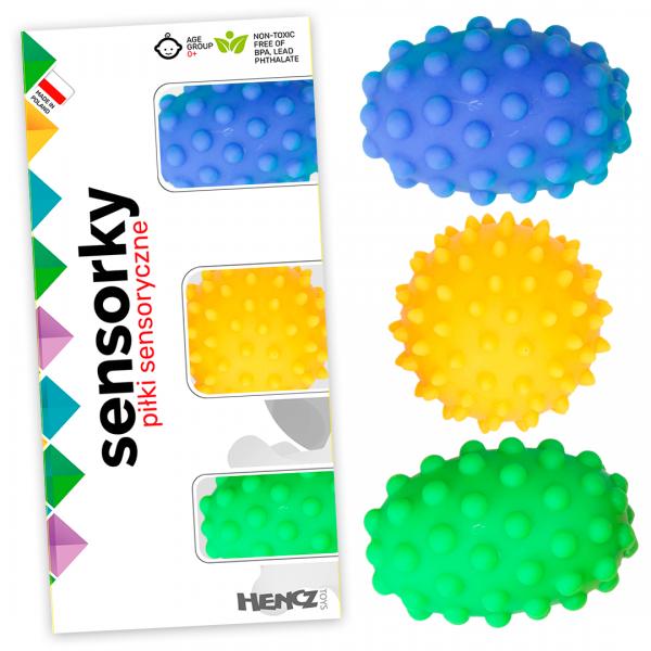 Edukačné farebné loptičky/ježkovia , 3ks v krabičke