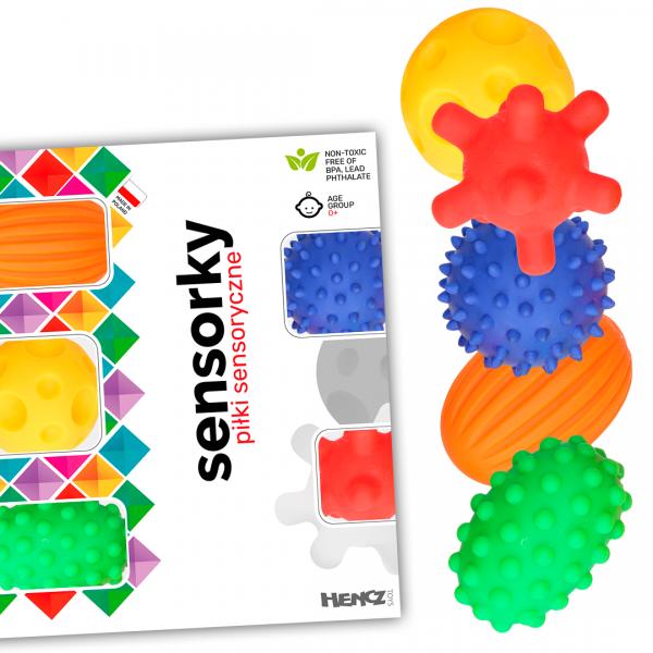 Hencz Toys Edukačné farebné loptičky/ježkovia , 5ks v krabičke